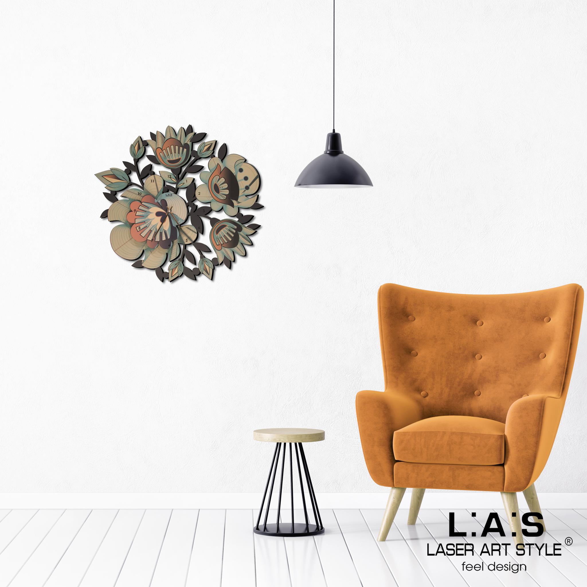 L:A:S - Laser Art Style - OROLOGIO DA PARETE DESIGN FLOREALE – SI-537-L DECORO ARANCIO