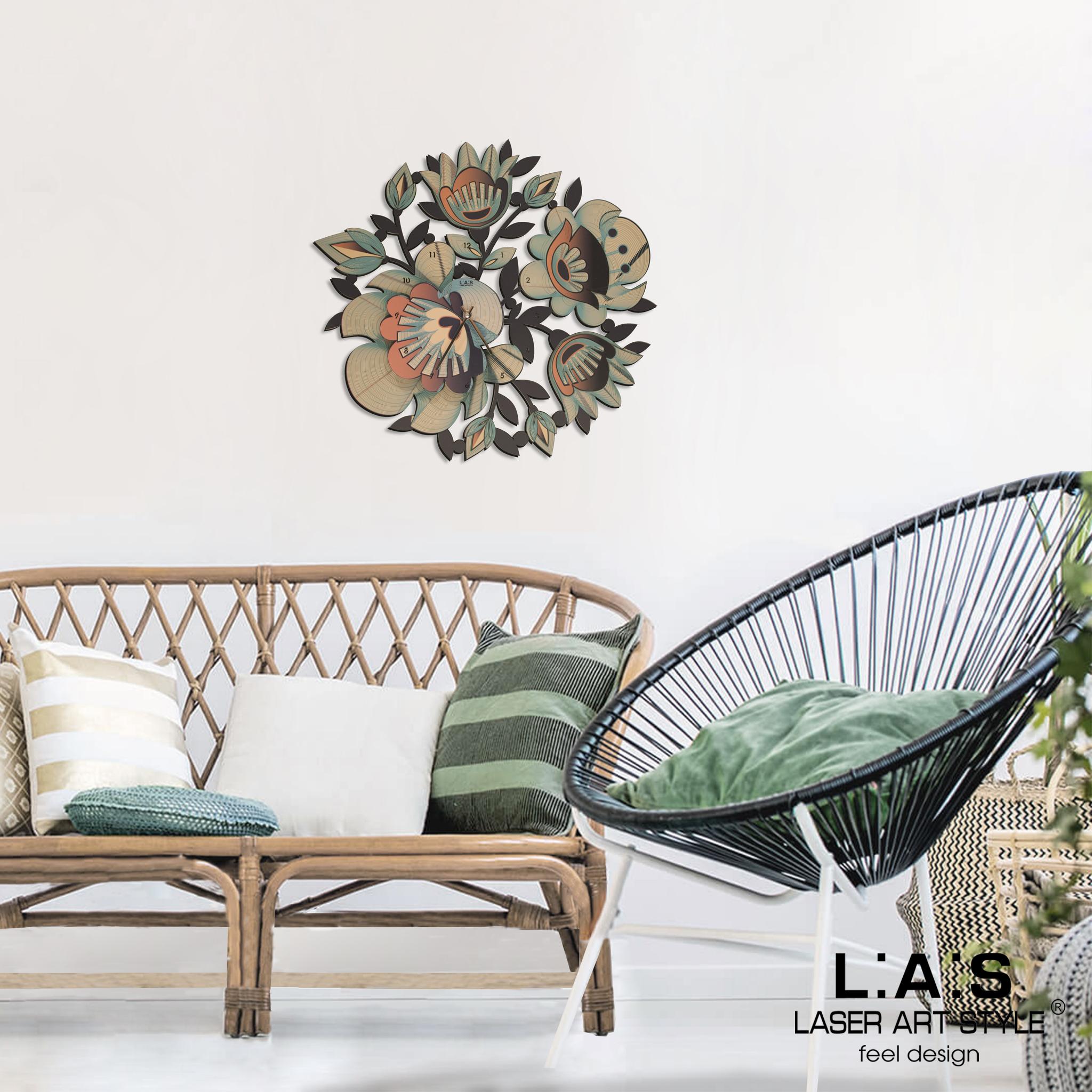 L:A:S - Laser Art Style - OROLOGIO DA PARETE DESIGN FLOREALE – SI-537L ARANCIO