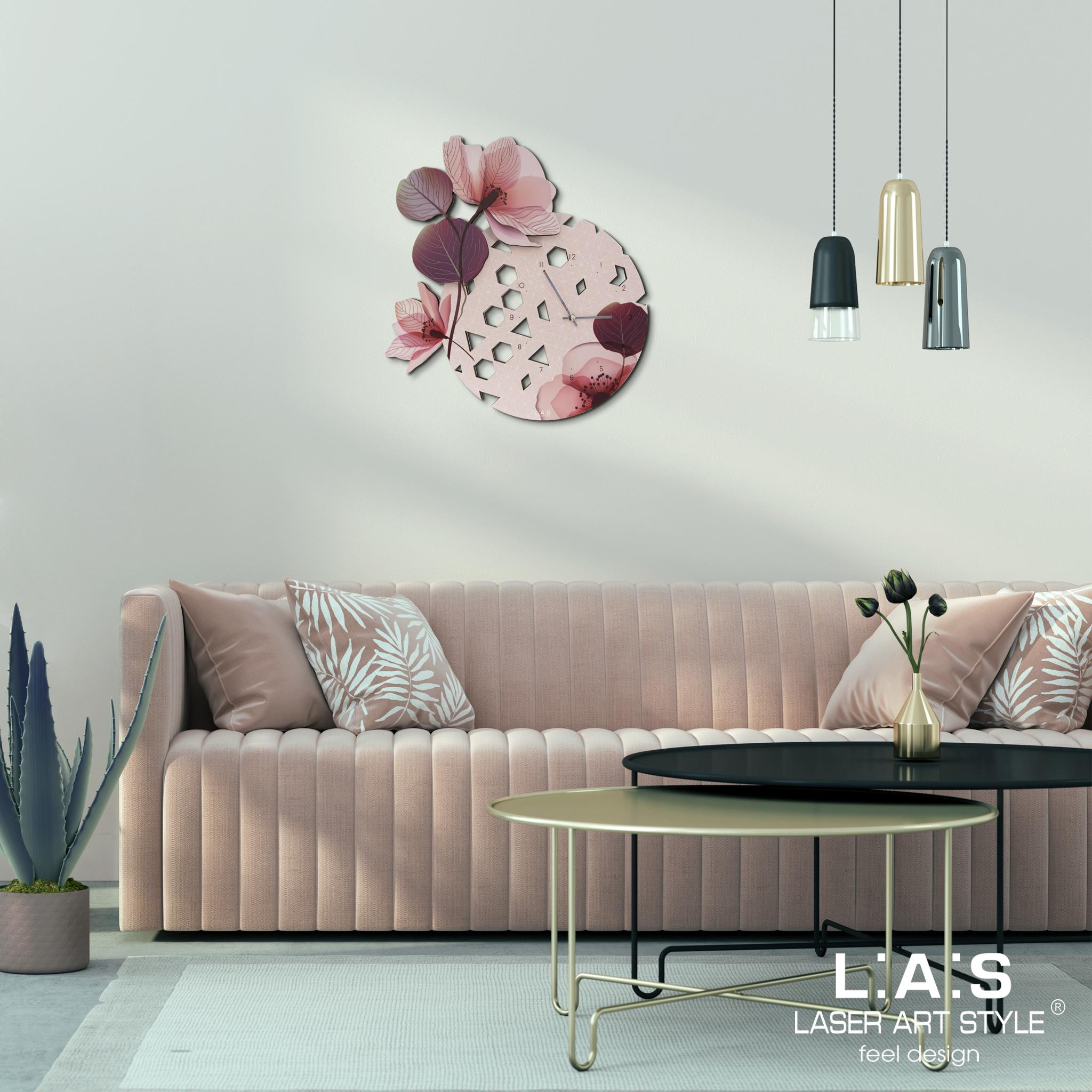 L:A:S - Laser Art Style - OROLOGIO DA PARETE DESIGN MODERNO E FLOREALE – SI-538-L ROSA