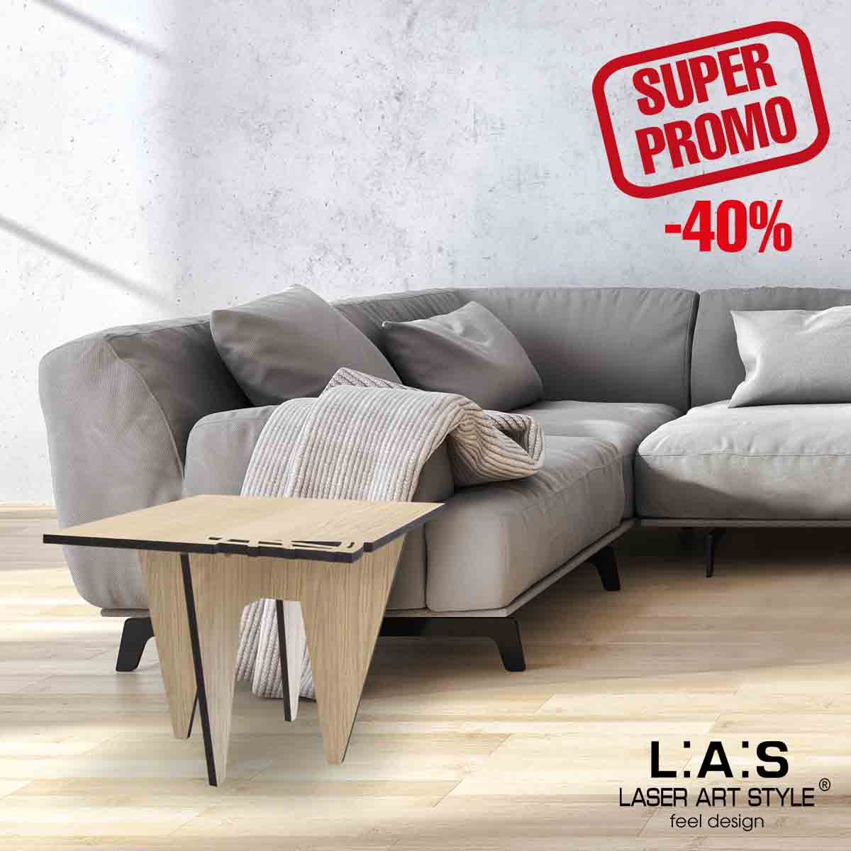 L:A:S - Laser Art Style - TAVOLO DESIGN LEGNO NATURALE – W-400