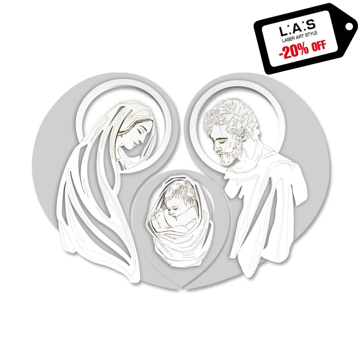 L:A:S - Laser Art Style - CAPEZZALE MODERNO – SACRA FAMIGLIA – SI-266-SF GRIGIO LUCE – BIANCO