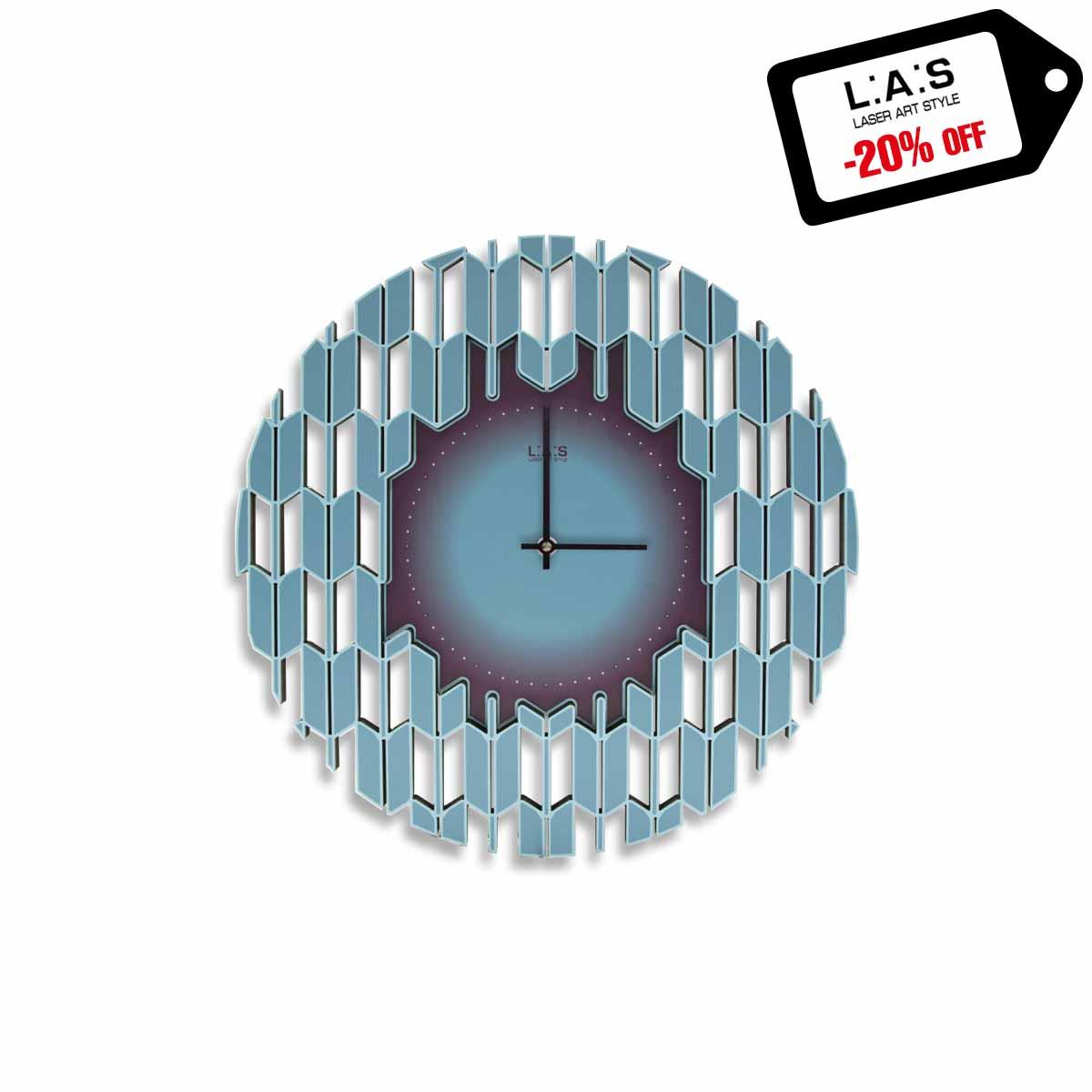 L:A:S - Laser Art Style - OROLOGIO DA PARETE DESIGN MODERNO – SI-540 DECORO TURCHESE-VIOLA