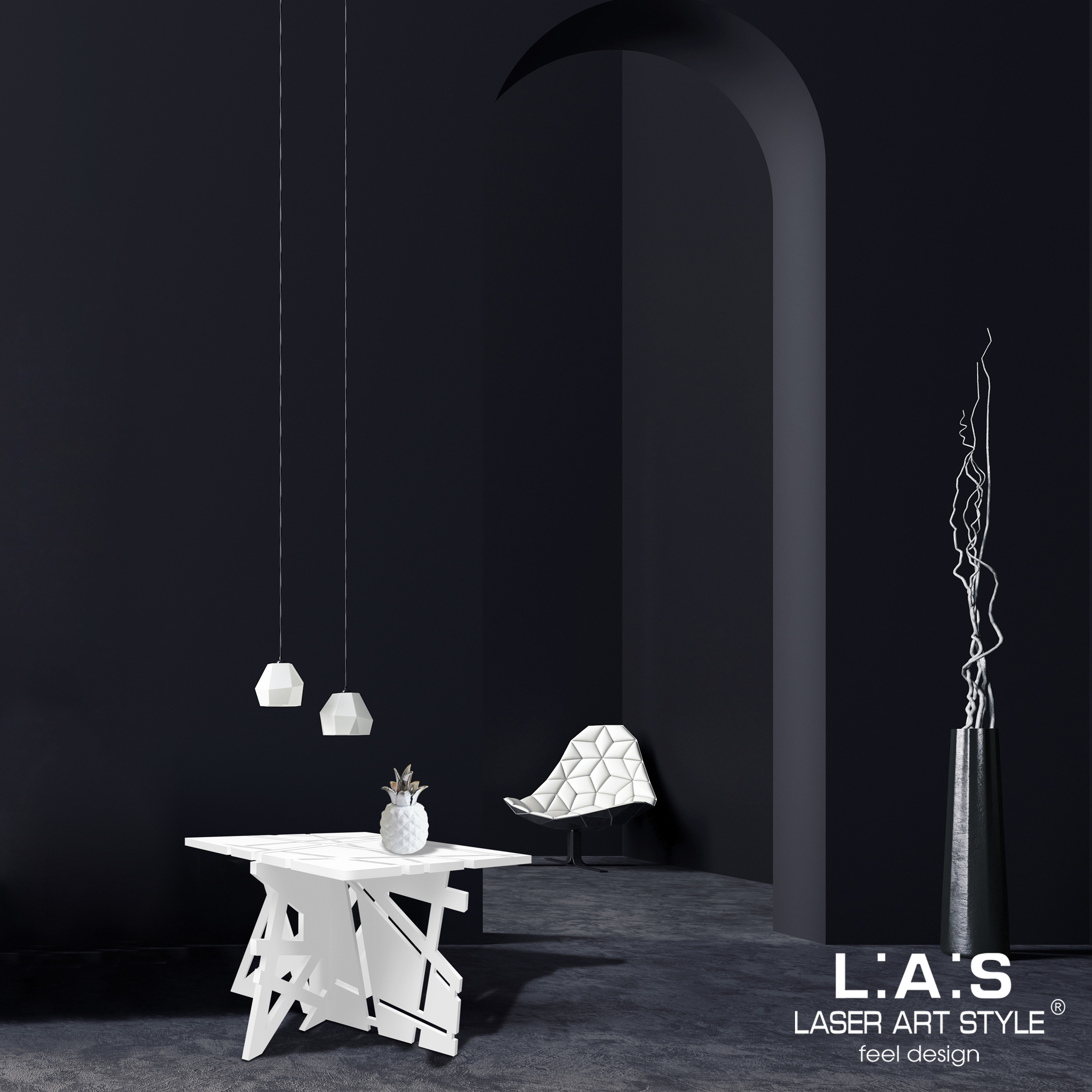 L:A:S - Laser Art Style - TAVOLINO BASSO SOGGIORNO SI-294 BIANCO