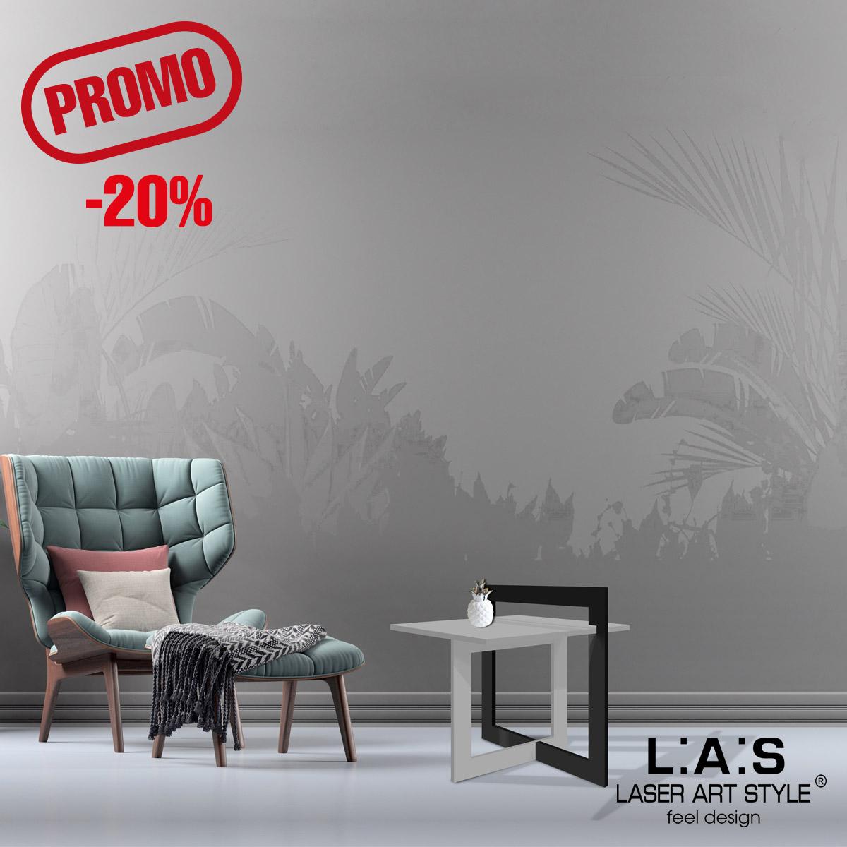 L:A:S - Laser Art Style - TAVOLINO DA CAFFE' DESIGN MINIMAL SI-506 CEMENTO-NERO