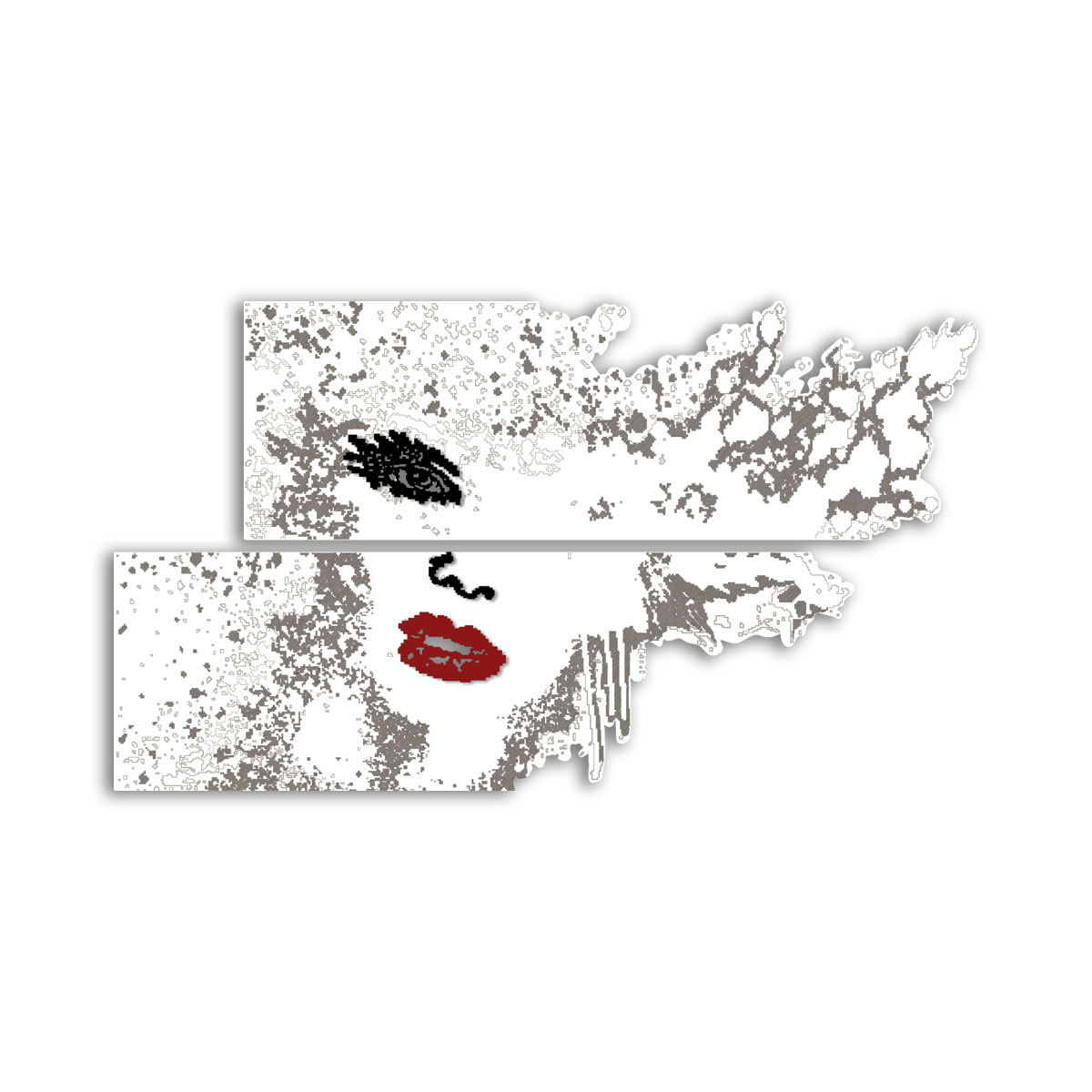 L:A:S - Laser Art Style - QUADRO DESIGN – SCULTURA DA PARETE – SI-156 BIANCO-NERO-ROSSO