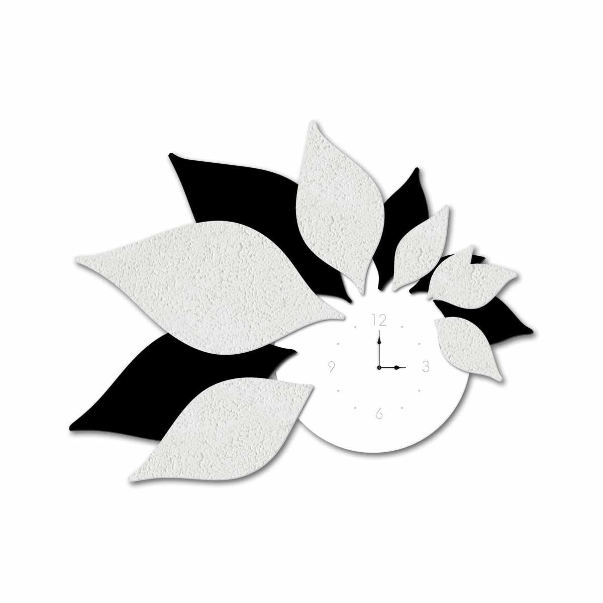 L:A:S - Laser Art Style - OROLOGIO DA PARETE DESIGN 3D SI-210 BIANCO-NERO-DECORO STUCCO BIANCO