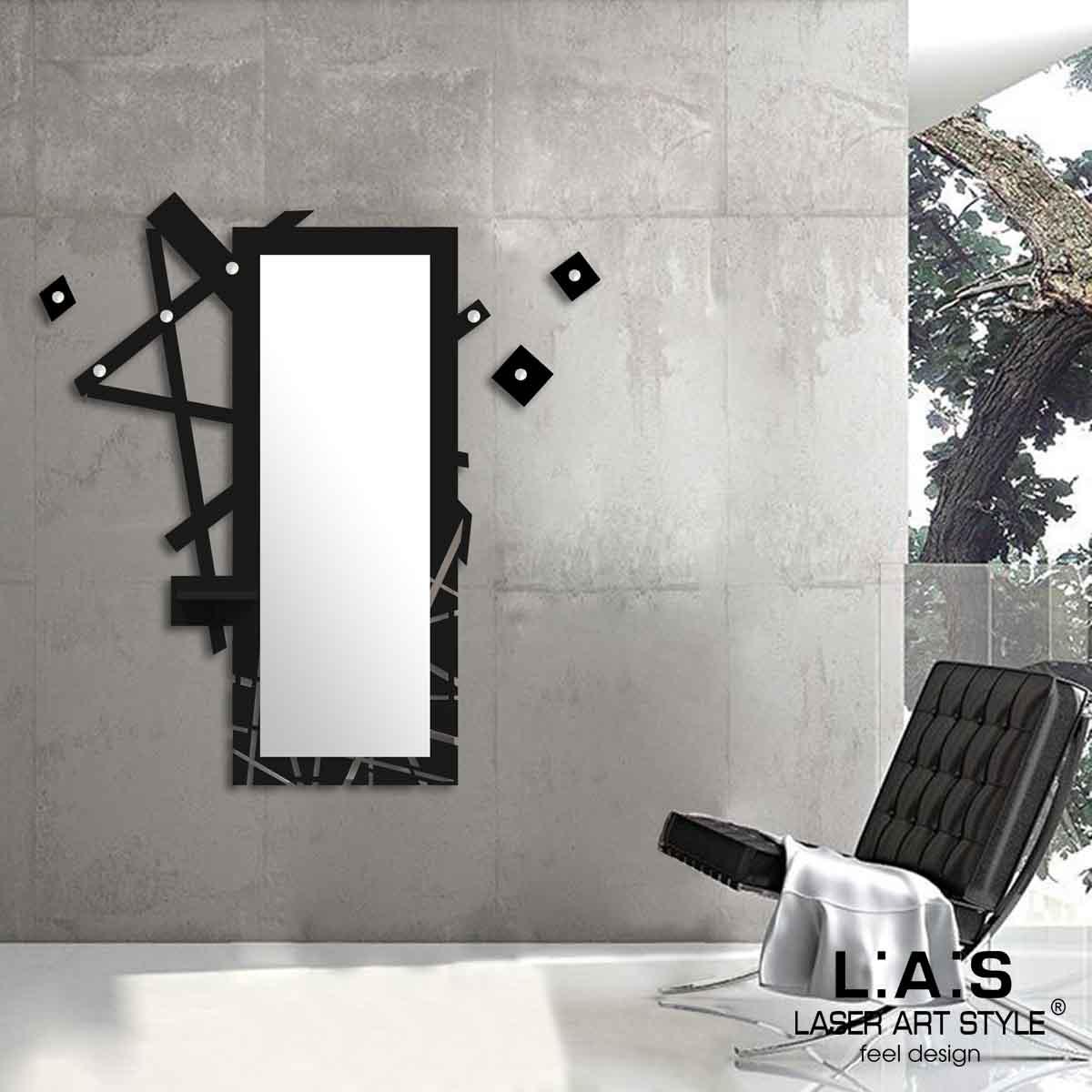 L:A:S - Laser Art Style - SPECCHIERA-MENSOLA-APPENDIABITI-DESIGN MINIMAL – SI-293 NERO